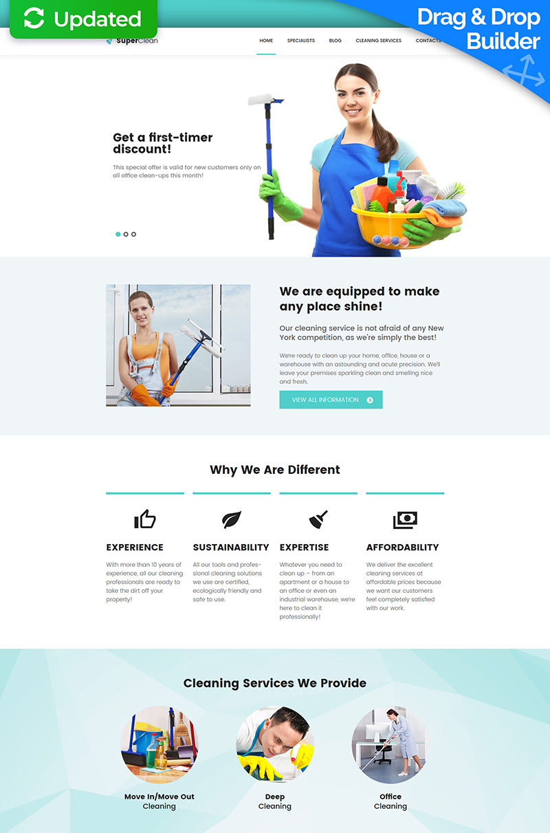 Cleaning Company Moto CMS 3 Template