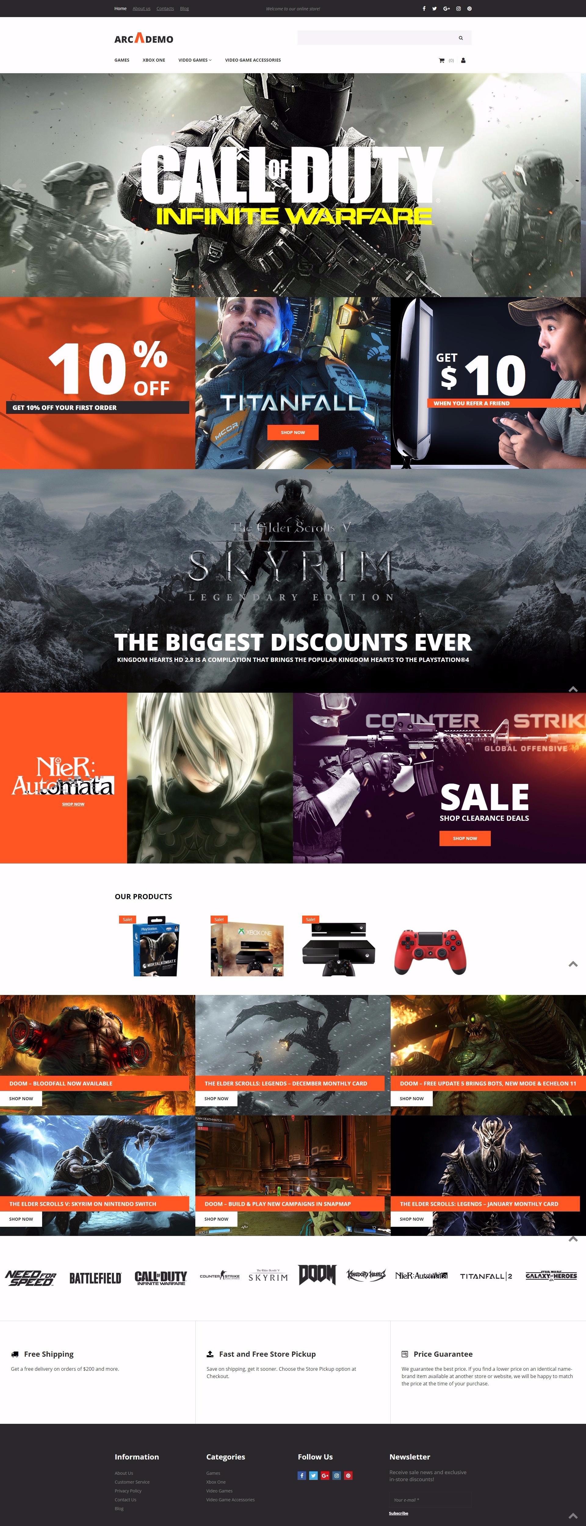 Arcademo - Video Games Shop MotoCMS Ecommerce Template
