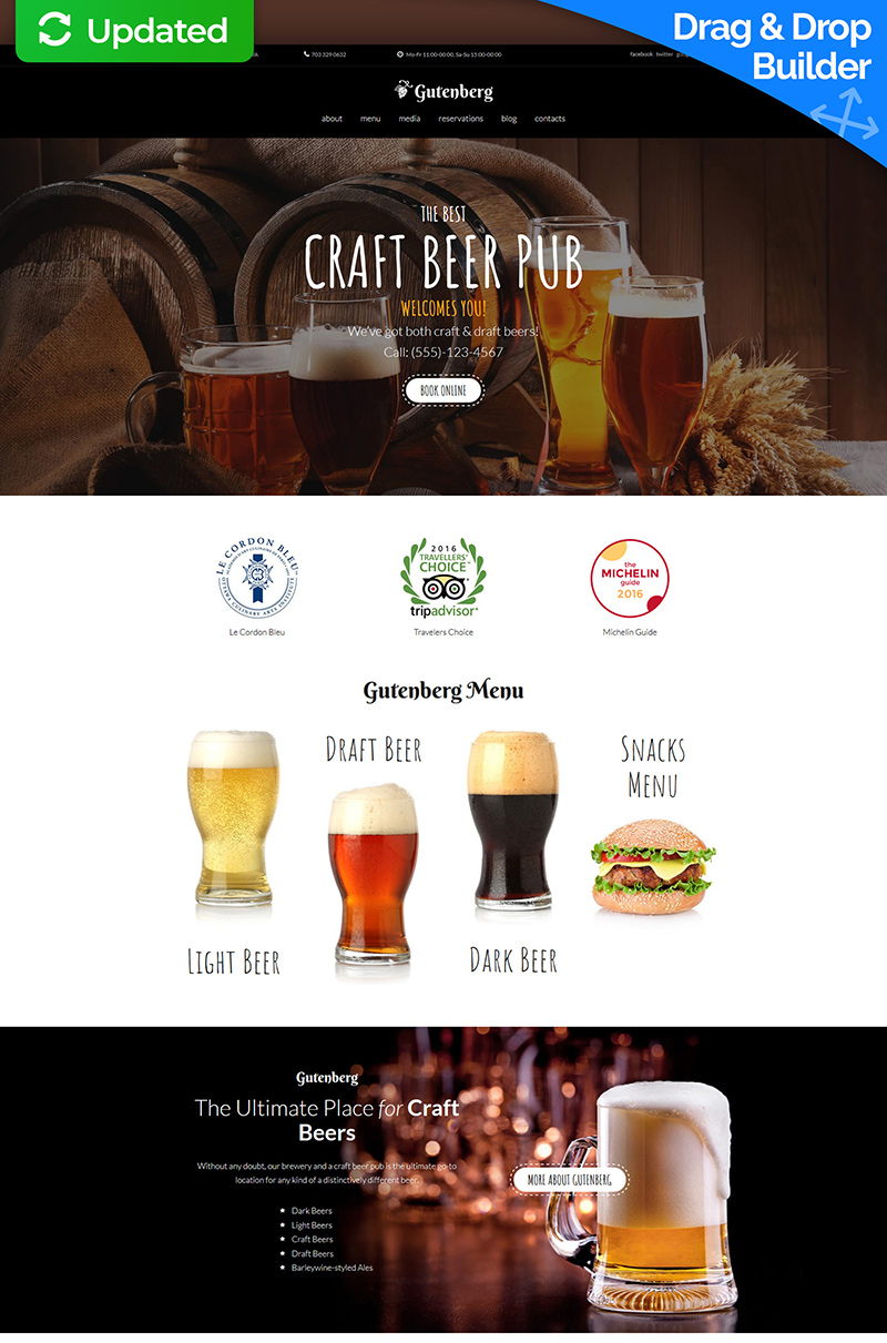 GutenBerg - Craft Beer Pub Moto CMS 3 Template