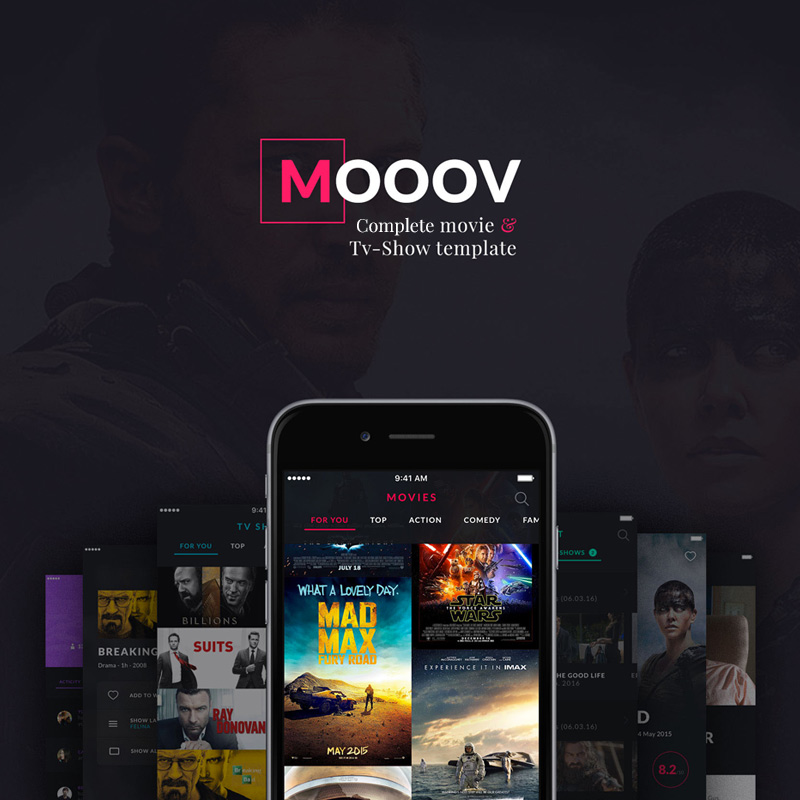 Template 63910 : MOOOV Movie & Tvshow mobile template UI