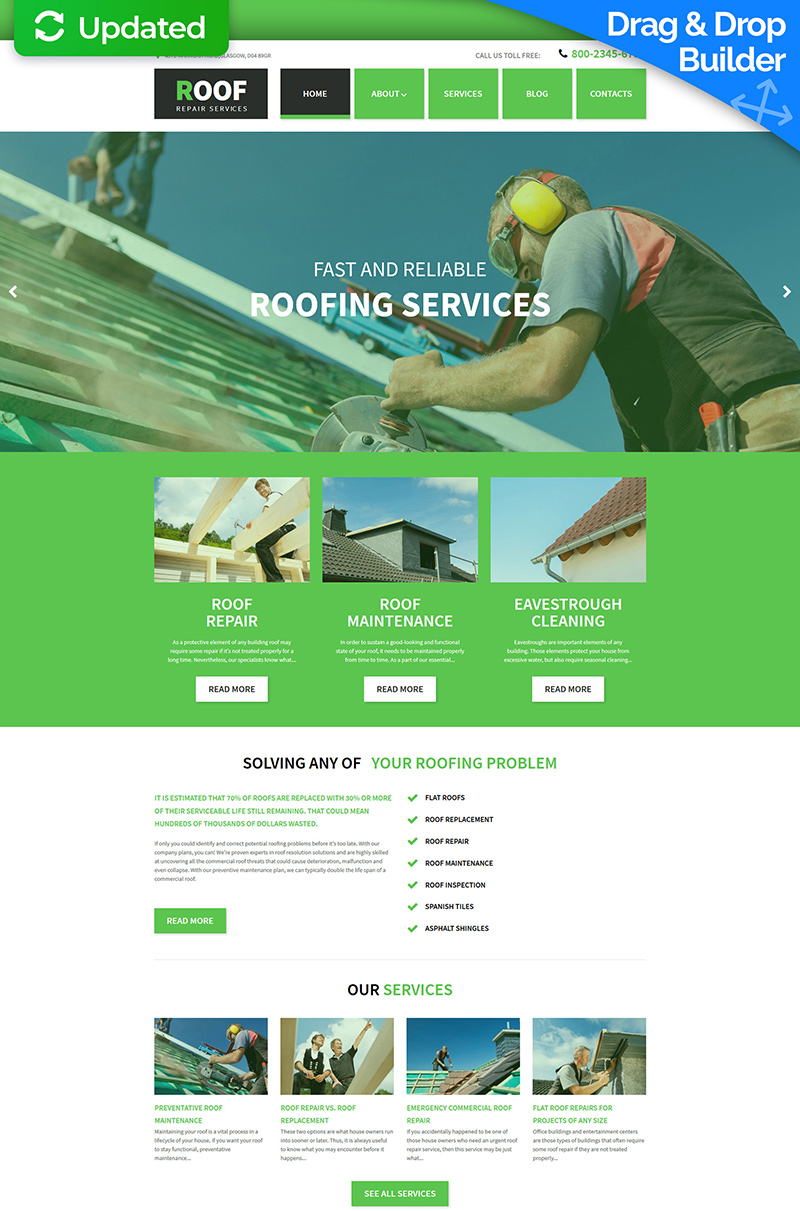 Best Roofing Moto CMS 3 Template