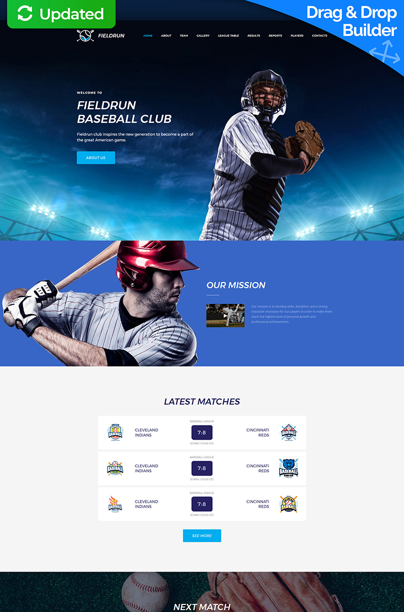 Fieldrun - Baseball Club Premium Moto CMS 3 Template