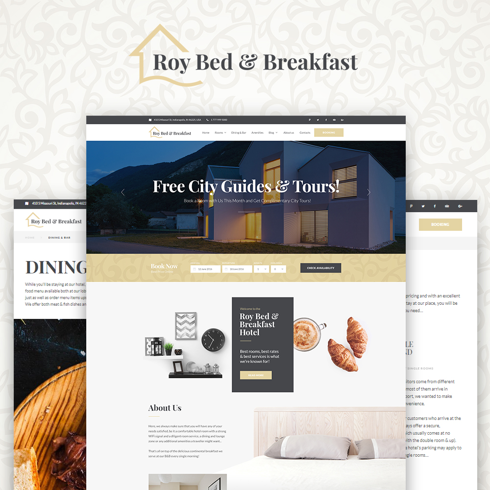 Roy Bed & Breakfast - Small Hotel WordPress Theme