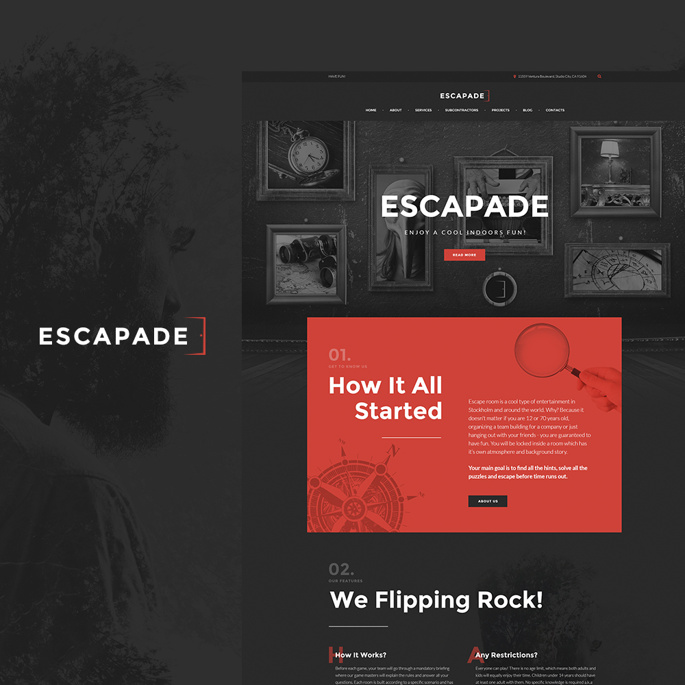 Escapade - Escape Room Responsive WordPress Theme