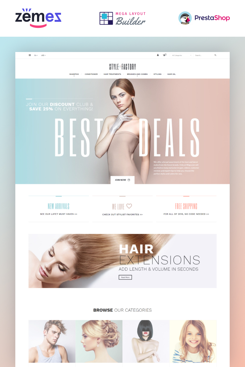 Hair Salon Ecommerce Template - StyleFactory PrestaShop Theme