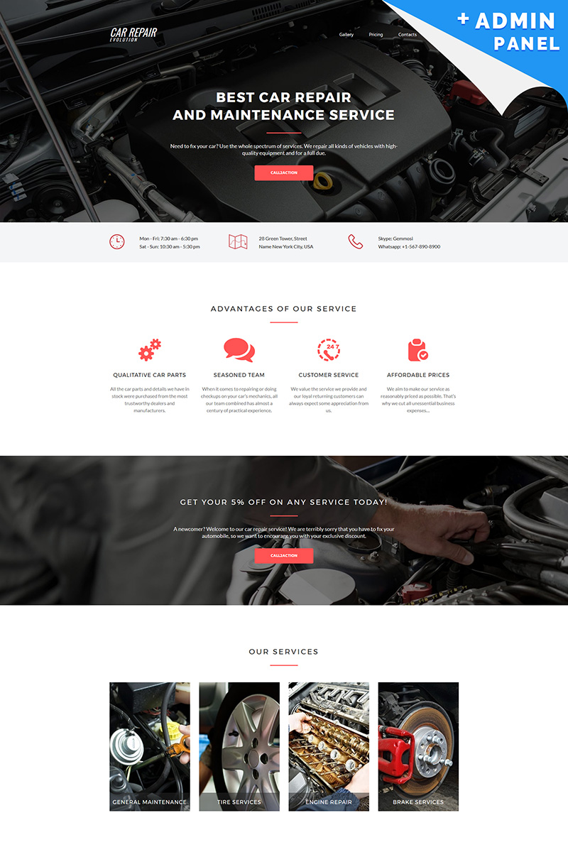 Evolution - Car Repair MotoCMS 3 Landing Page Template