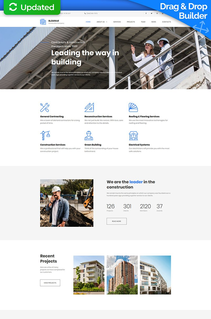 BuildWell - Construction Company Premium Moto CMS 3 Template