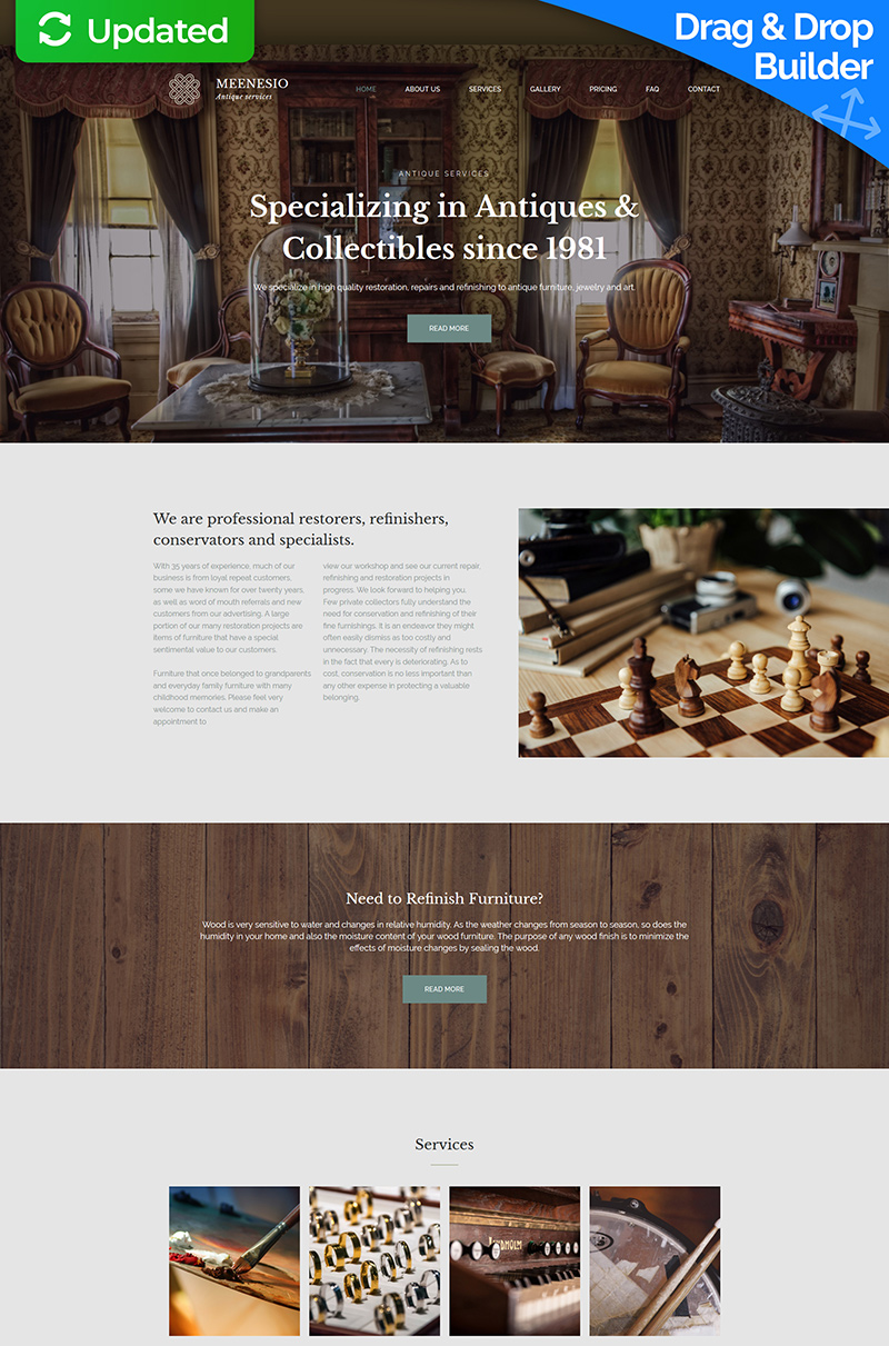 Meenesio - Antique Restoration Premium Moto CMS 3 Template