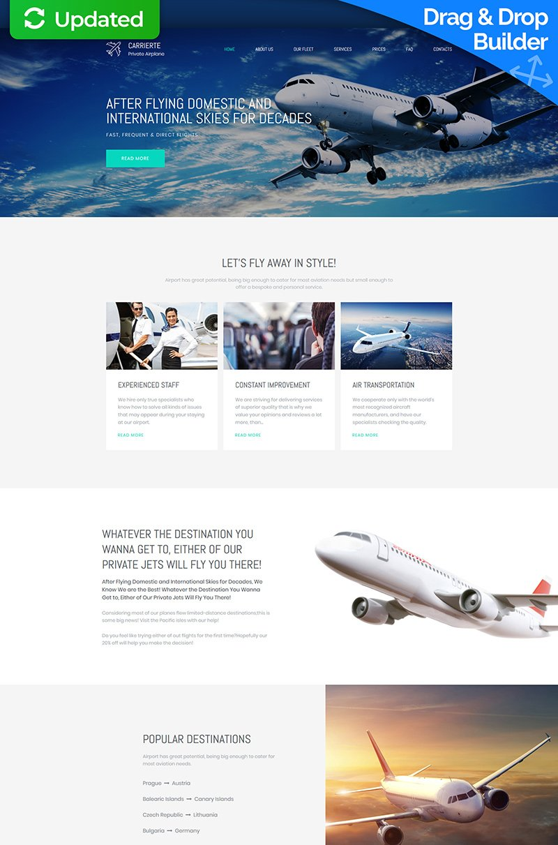 Carrierte - Private Airline Premium Moto CMS 3 Template
