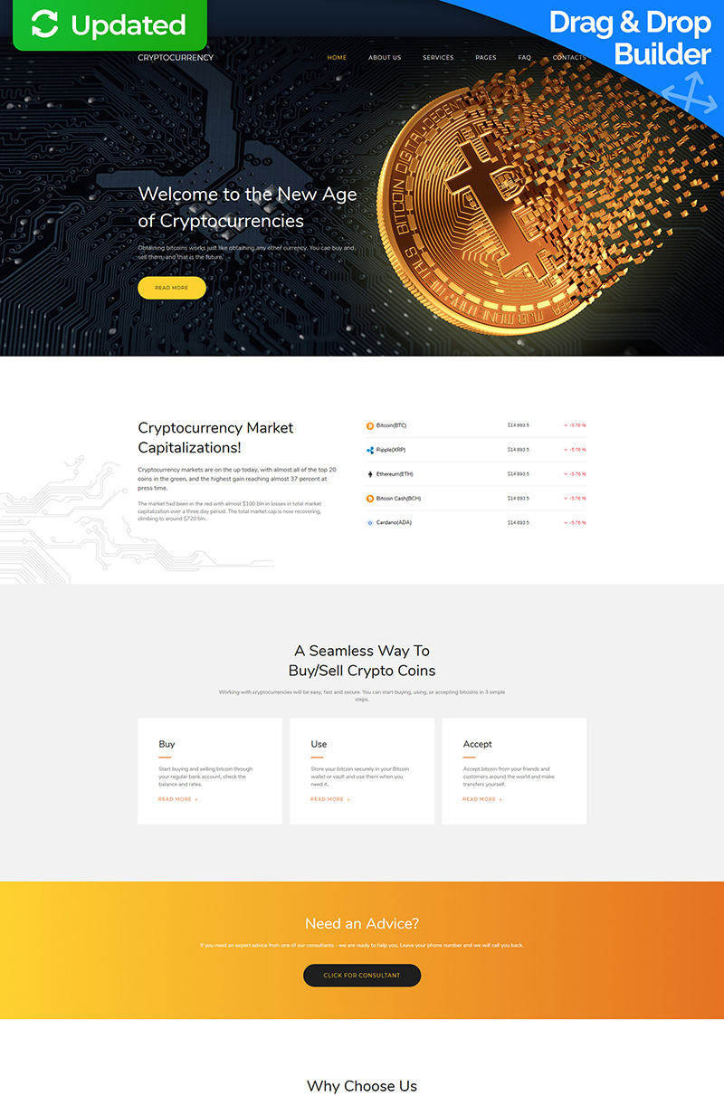 Bitcoin Cryptocurrency Premium Moto CMS 3 Template