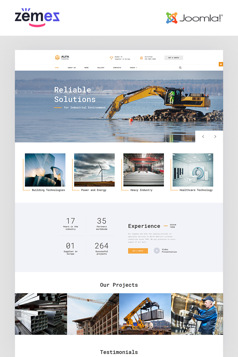 ALFA Industries - Industrial Clean Professional Joomla Template