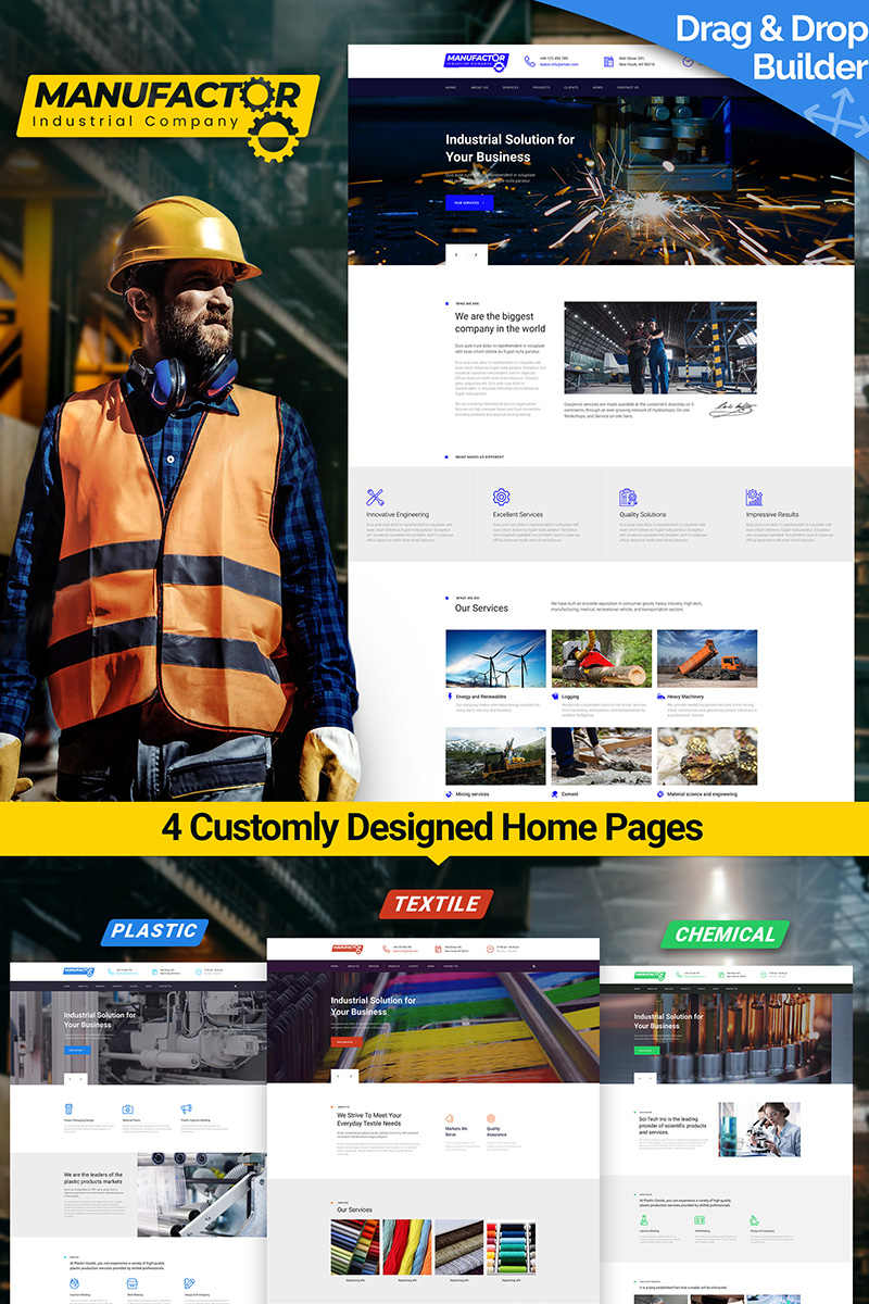 ManuFactor - Multipurpose Industrial and Manufacturing Moto CMS 3 Template