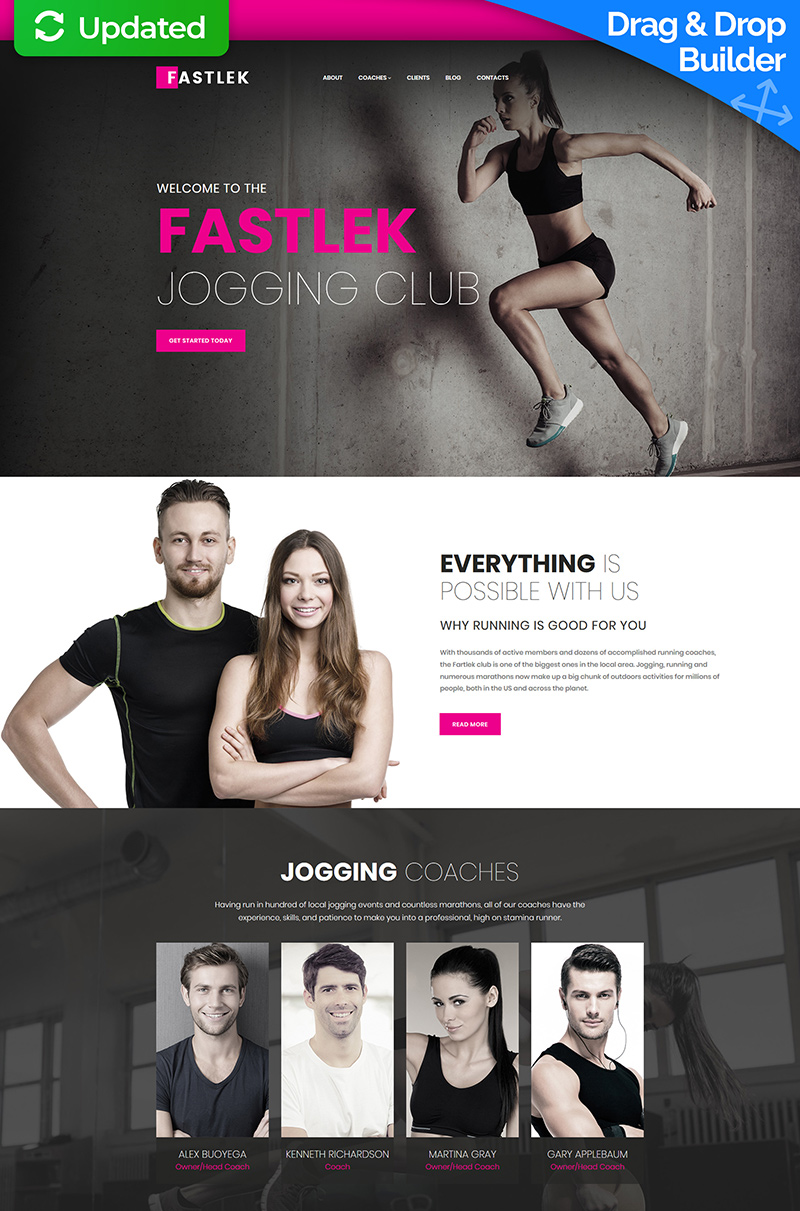 Fastlek -  Jogging Club Moto CMS 3 Template