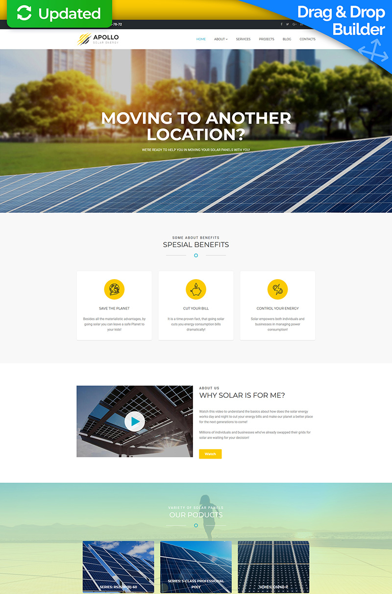 Apollo - Solar Energy Moto CMS 3 Template