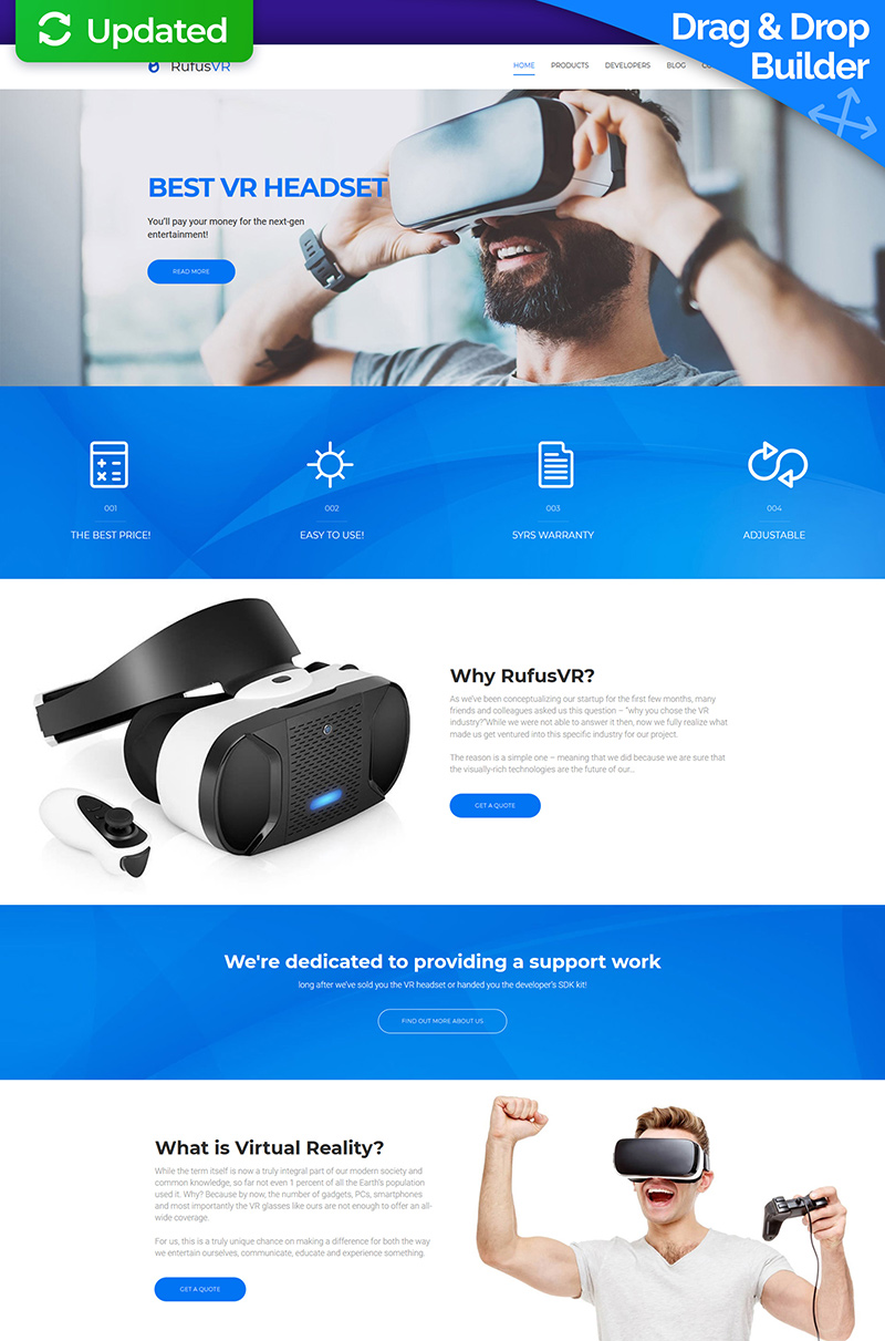 RufusVR - VR Startup Moto CMS 3 Template
