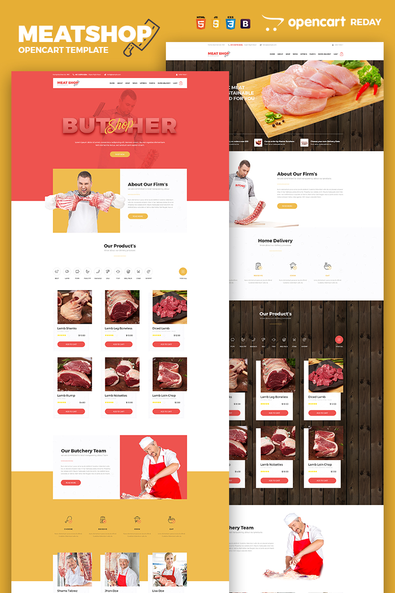 Butcher - Meat Shop eCommerce OpenCart Template