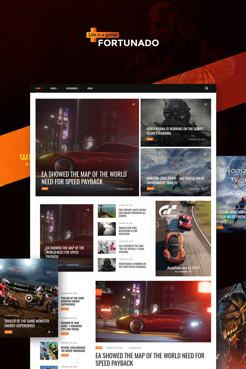 Fortunado - Gamer Responsive WordPress Theme