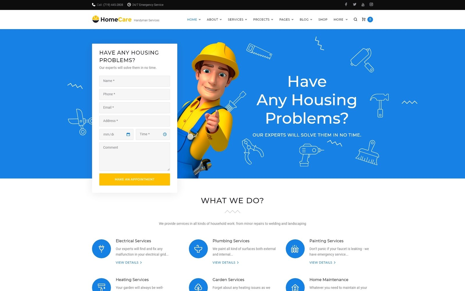 HomeCare - Handyman Services Responsive WordPress Theme