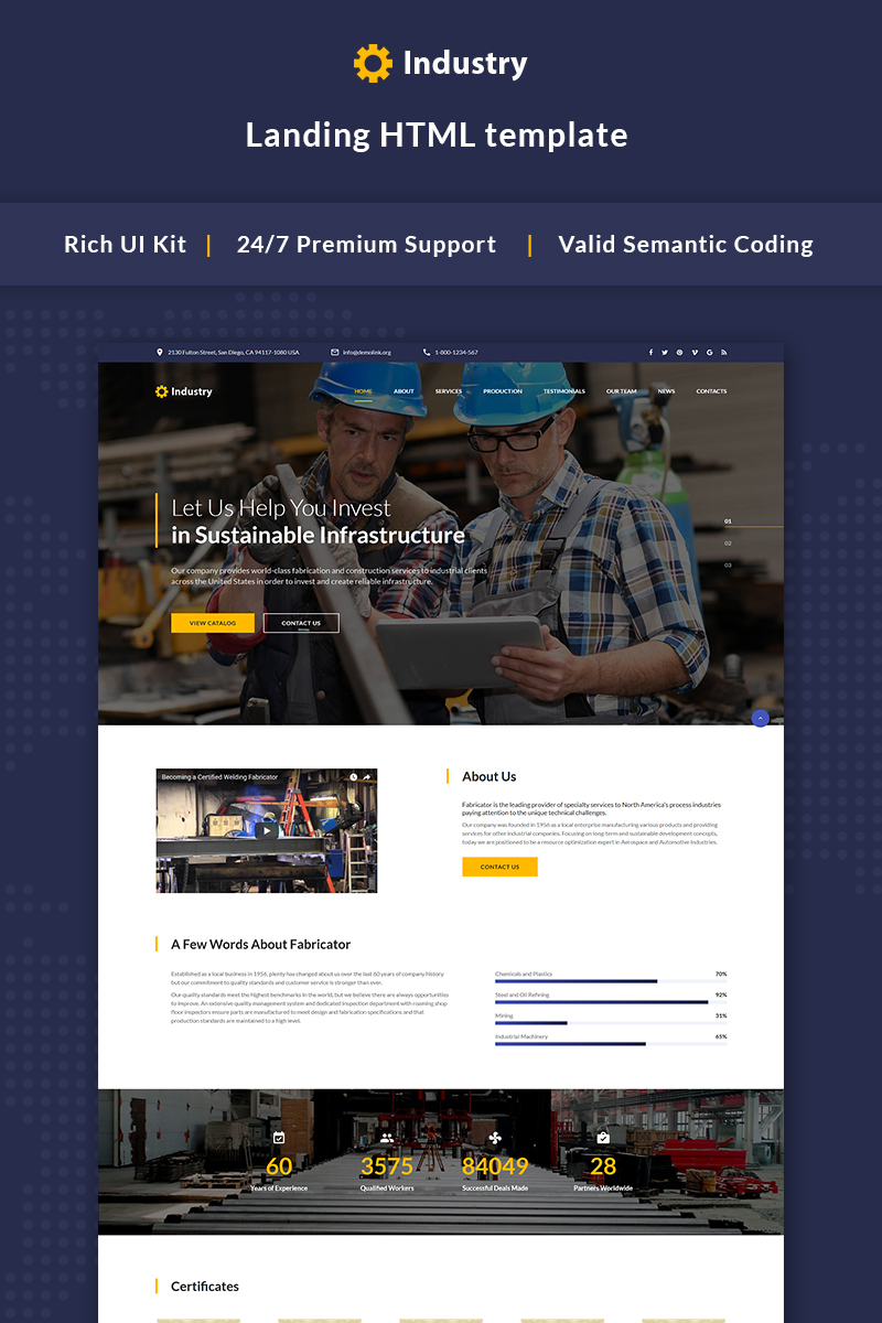 Industry - Industrial company Bootstrap Landing Page Template