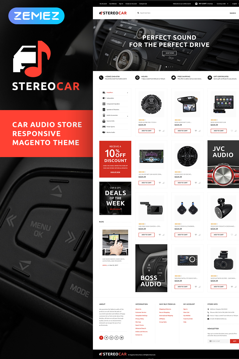 StereoCar - Car Audio Store Magento Theme