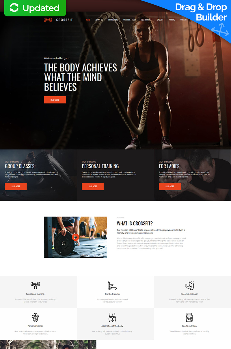 Crossfit - Fitness Club Premium Moto CMS 3 Template