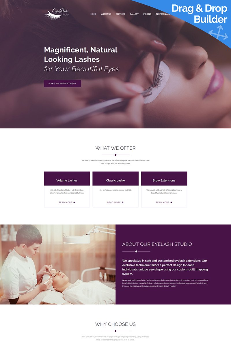 Eyelash Extension Studio Moto CMS 3 Template