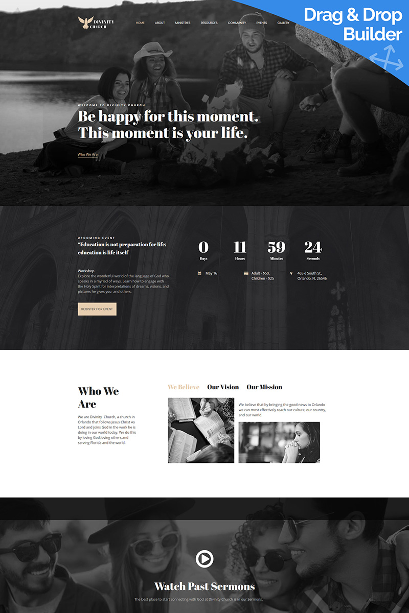 Modern Church Premium Moto CMS 3 Template