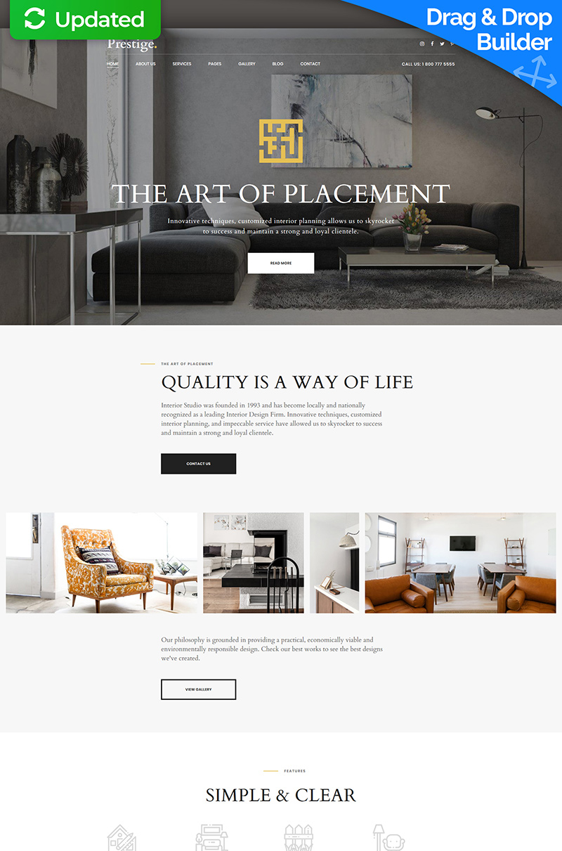 Template 66413 : Best Interior Design Moto CMS 3 Template Website