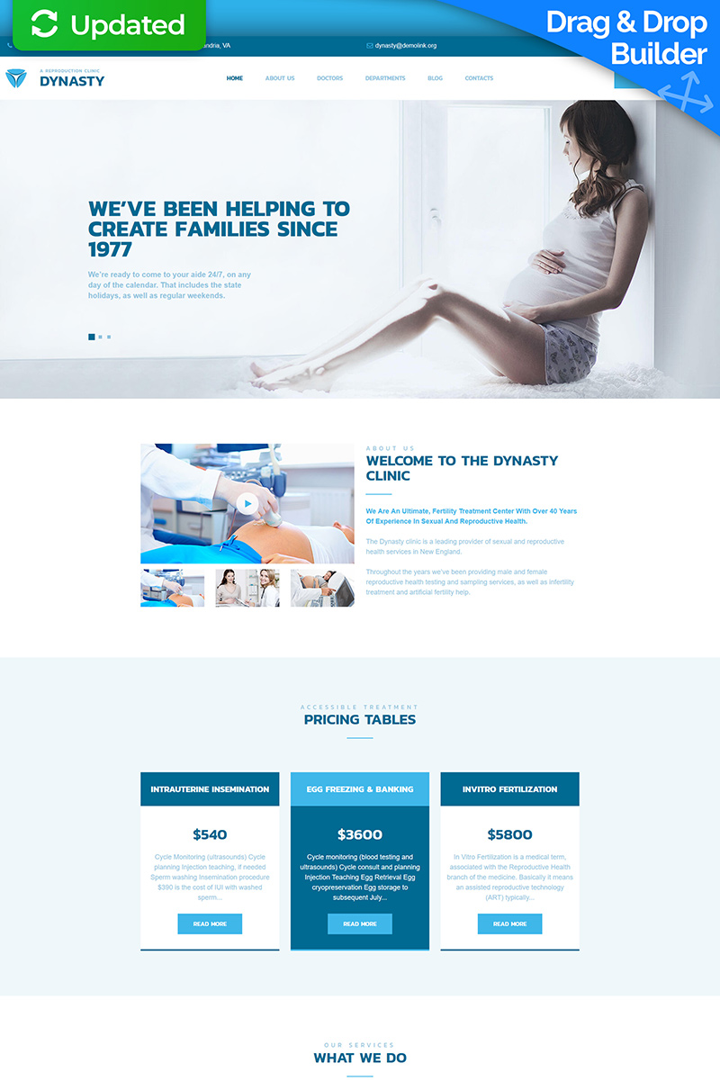 Dynasty - Reproduction Clinic Moto CMS 3 Template
