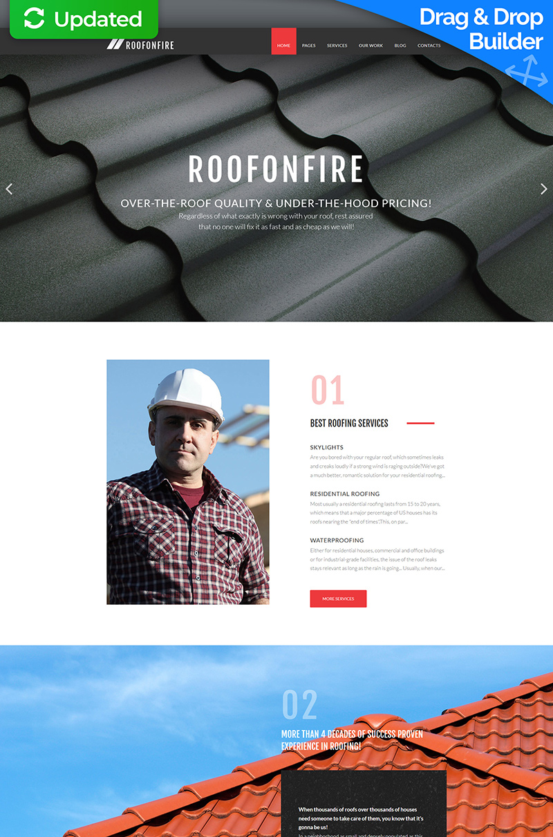 RoofOnFire - Roofing Company Moto CMS 3 Template