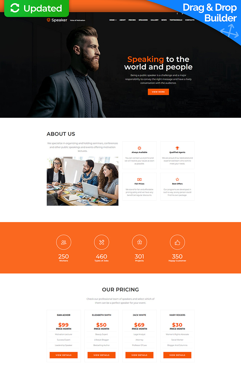 Speaker - Life Coach Responsive Moto CMS 3 Template
