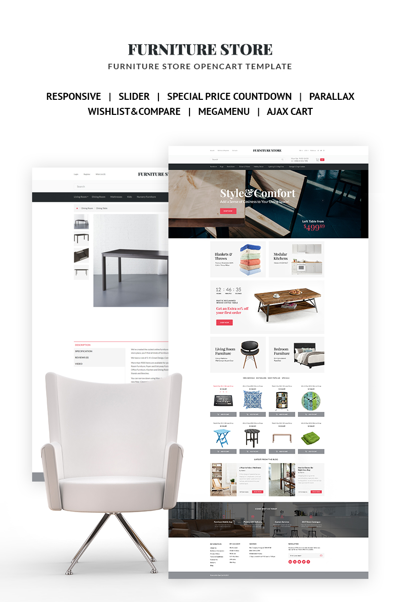 Style & Comfort - Furniture Store OpenCart Template