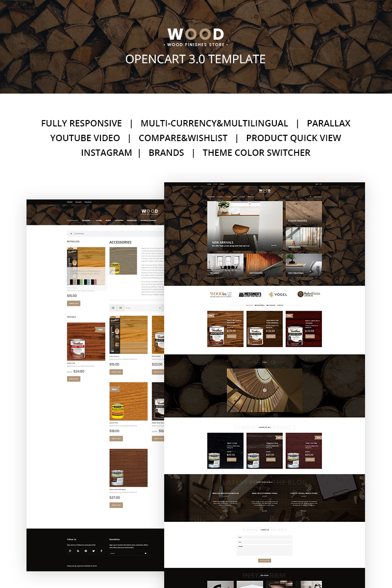 Wood Finishes Responsive OpenCart Template