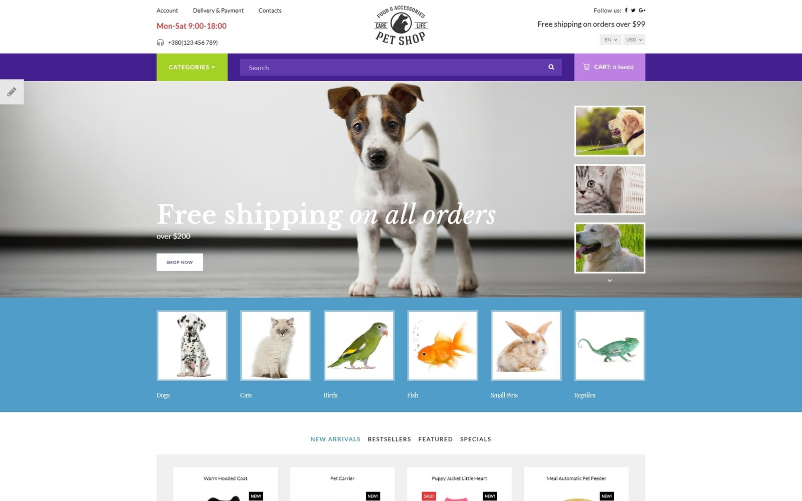 Pet Shop - Responsive OpenCart Template