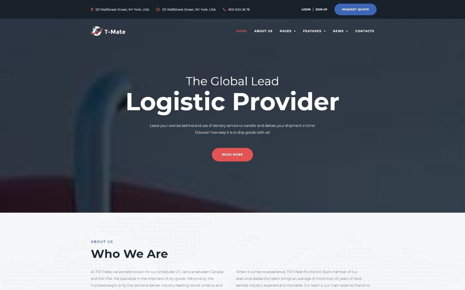 Transportation Services Responsive WordPress Theme