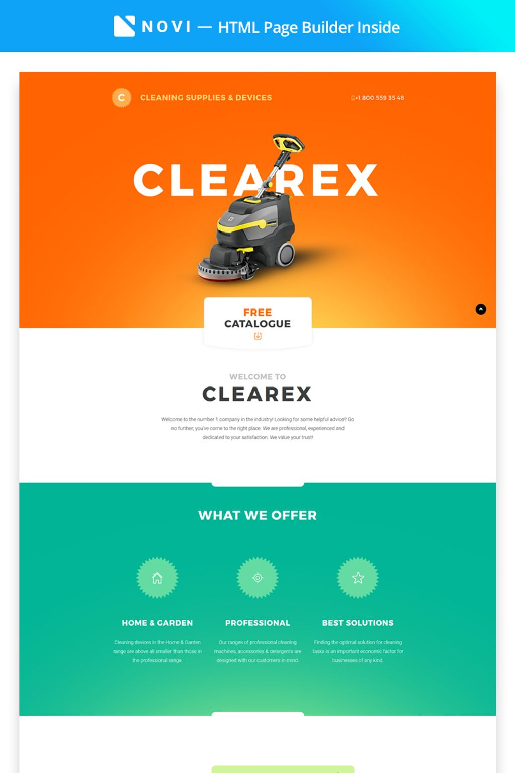 Clearex - Cleaning Supplies & Devices with Novi Builder Landing Page Template