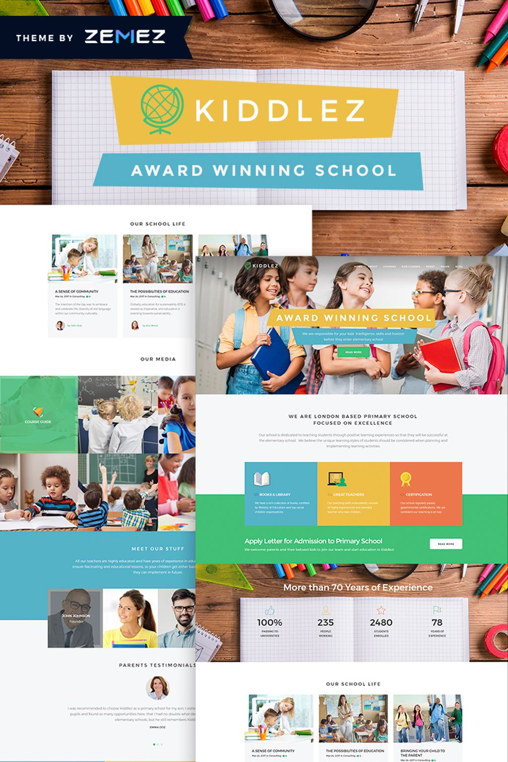 Kiddlez - Primary School Responsive WordPress Theme