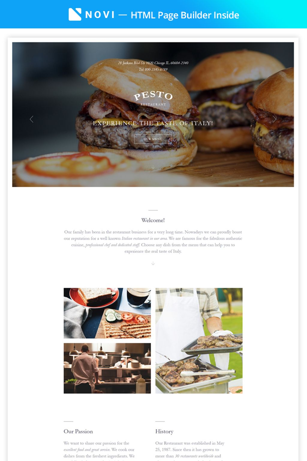 Pesto - Elegant Restaurant Template Compatible with Novi Builder Landing Page Template