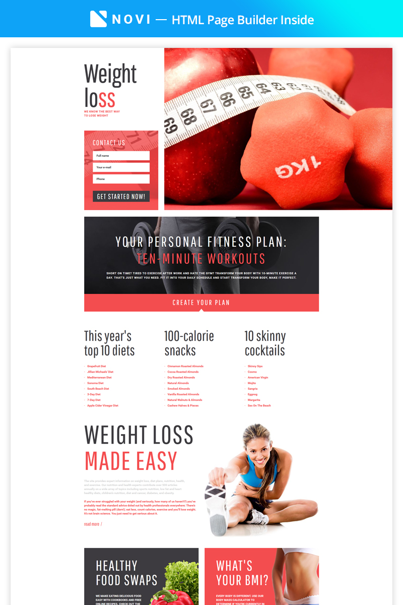 Weight Loss - Simple Weight Loss Program Compatible with Novi Builder Landing Page Template