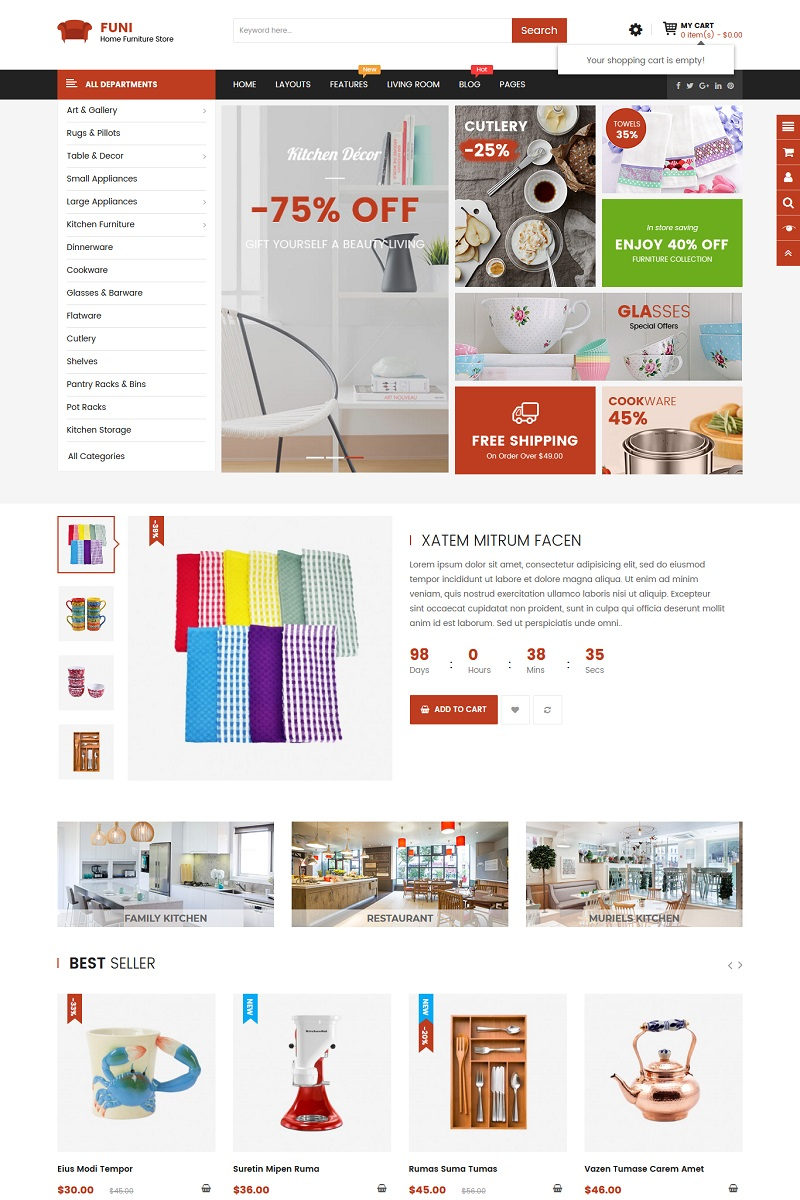 Funi - Furniture OpenCart Template
