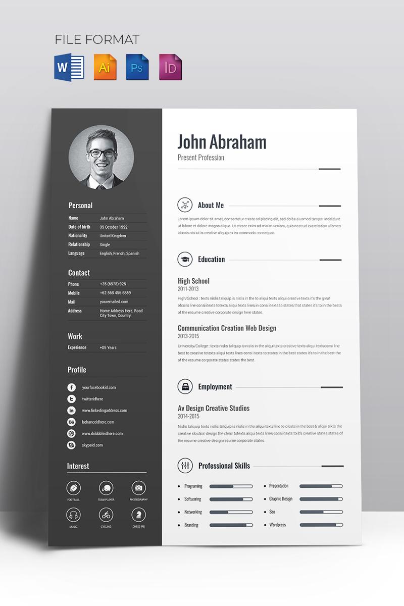 Template 67714 : Minimal Creative CV Resume Template Website ...