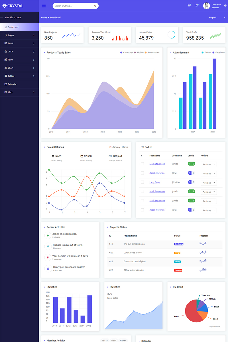 Crystal -  Bootstrap 4 Admin Template