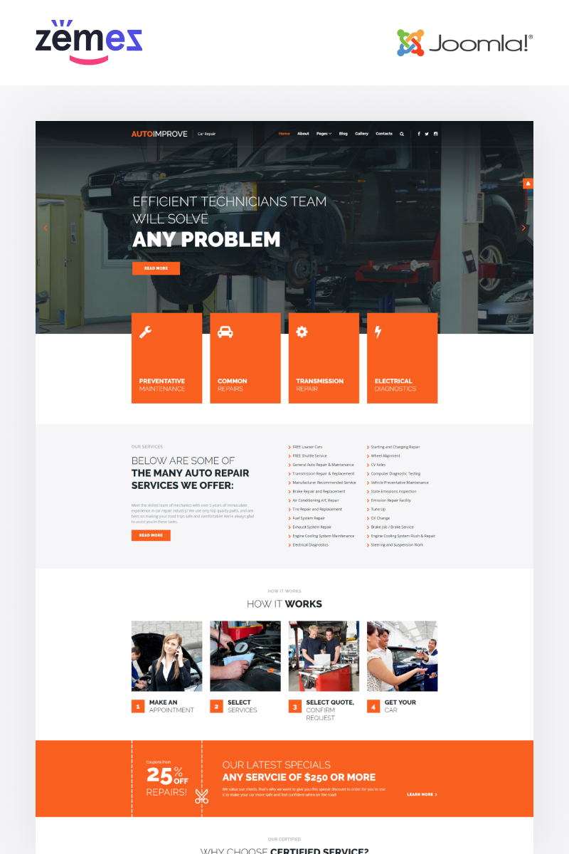 Autoimprove - Car Repair Multipage Creative Joomla Template