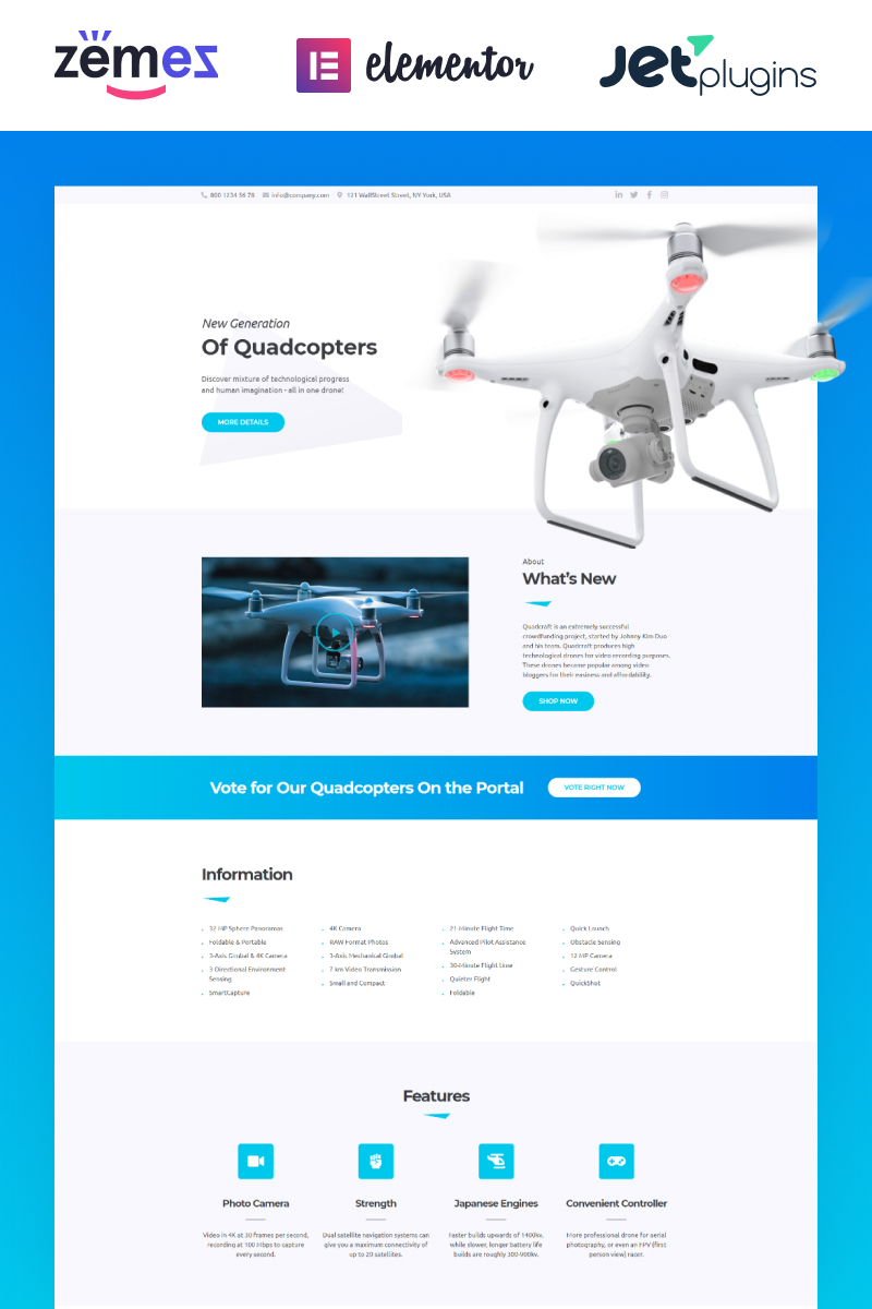 Quadcraft - Drone Startup WordPress Theme