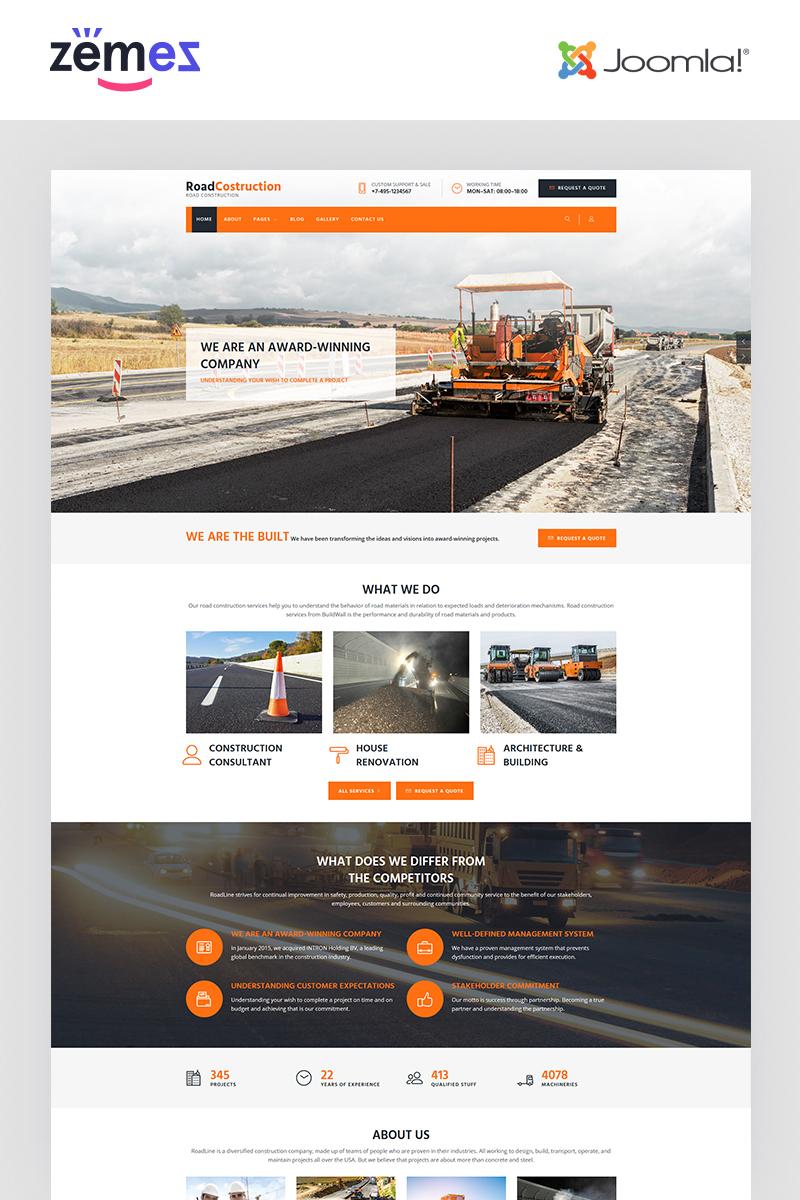 RoadLine - Solid Road Consrtuction Company Joomla Template
