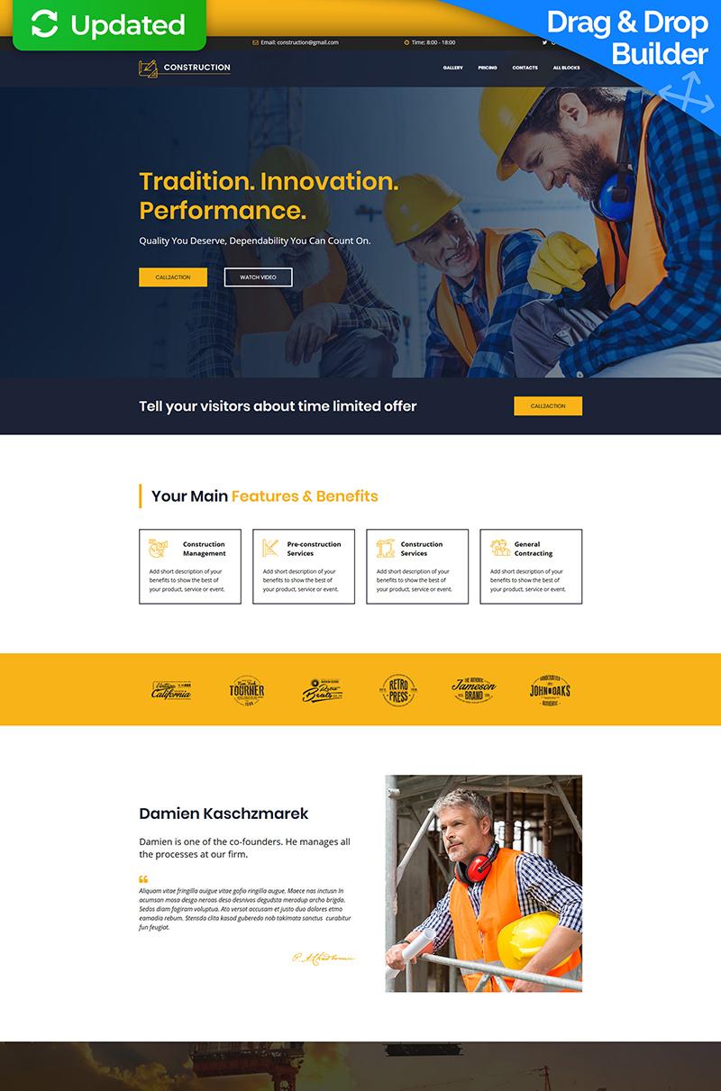 Construction MotoCMS 3 Landing Page Template