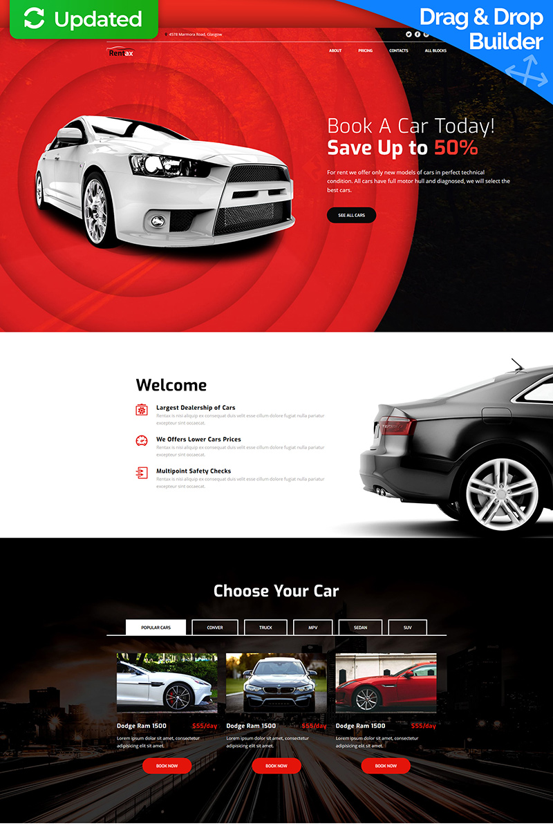 Car Rental MotoCMS 3 Landing Page Template