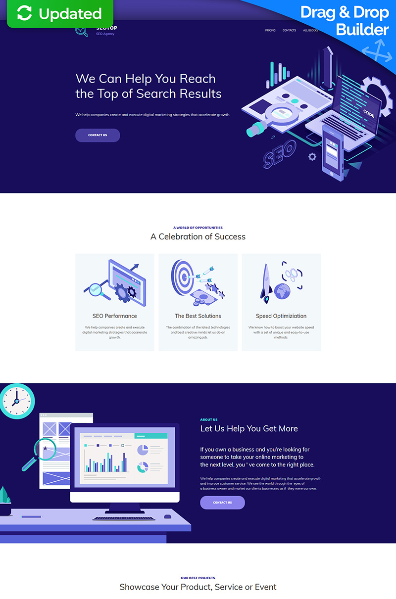SEO Agency MotoCMS 3 Landing Page Template