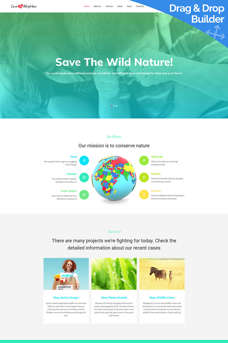 Love Thy Neighbor - Environment Organization Moto CMS 3 Template
