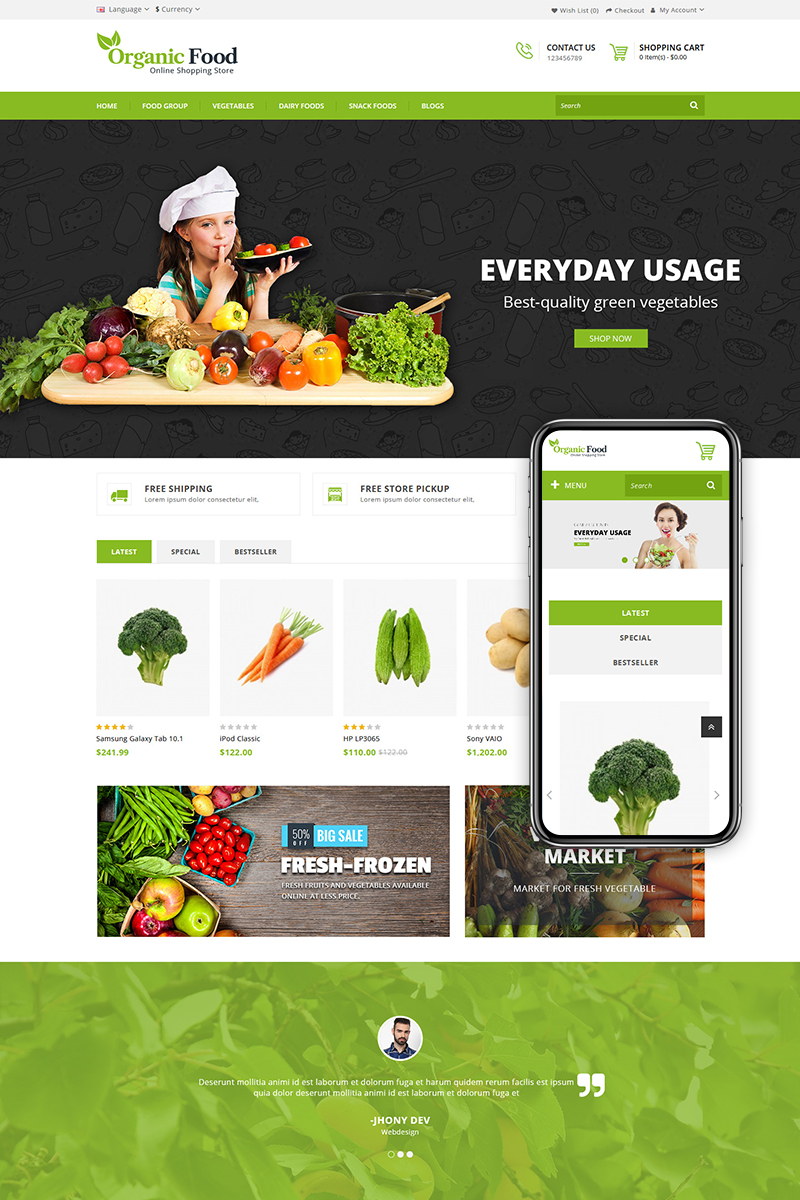 Organic Food Store OpenCart Template